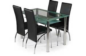 kingston glass dining table and 4 black chairs