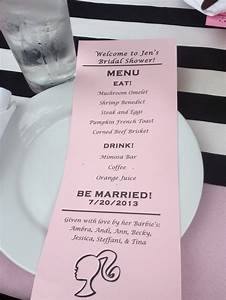 menu card for barbie stripes pink bridal shower bridal With wedding shower menus