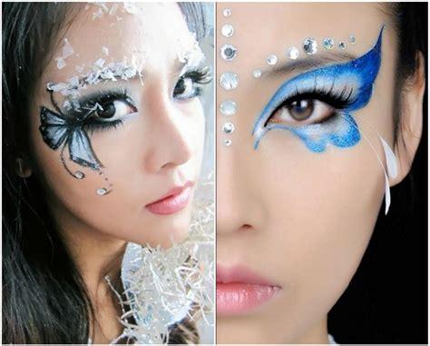schmetterling schminken damen augen blau schwarz makeup