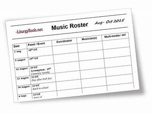 liturgytoolsnet blank template for a church music roster With worship schedule template