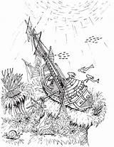 Shipwreck Coloring Pages Mermaid Printable Getcolorings Getdrawings sketch template