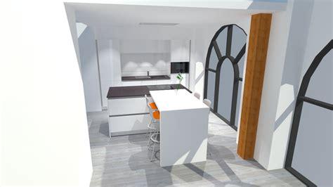 cuisine bois plan de travail blanc cuisine blanc brillant avec îlot plan de travail bois
