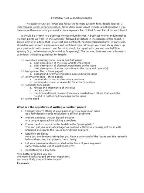 position paper format memorandum argument