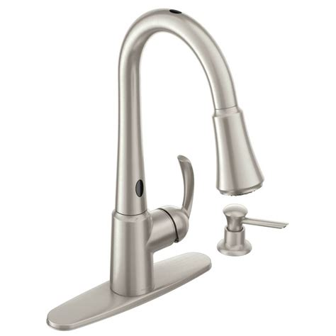 moen touchless kitchen faucet shop moen delaney with motionsense spot resist stainless 1 handle pull down touchless kitchen
