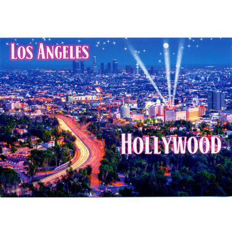 los angeles city lights hollywood postcard