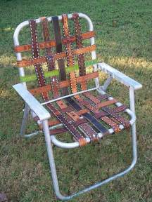kikithespunkymunky vintage aluminum folding lawn chair re webbed with western belts yee haw
