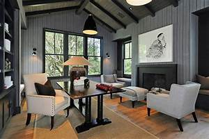 Gray Home Office - Contemporary - den/library/office