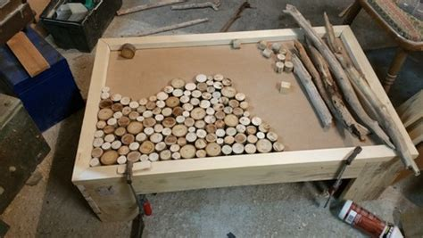 table basse fait maison de palettes et bois flott 233