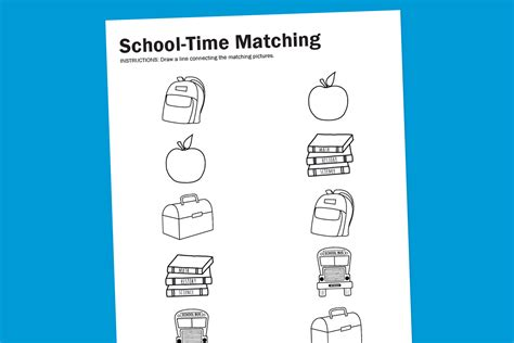 school worksheets to print for free worksheet wednesday school time matching paging supermom