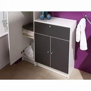 Meuble Rangement Salle De Bain : meuble bas slash anthracite l59 cm achat vente petit ~ Edinachiropracticcenter.com Idées de Décoration
