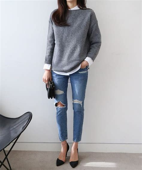Sweater tumblr grey sweater shirt white shirt denim jeans blue jeans ripped jeans pumps ...