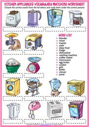 kitchen appliances esl printable vocabulary worksheets