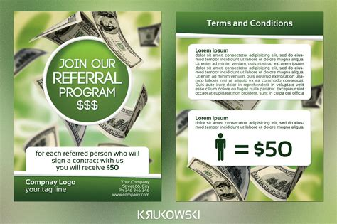 referral program template referral program 2 sided flyer flyer templates on creative market