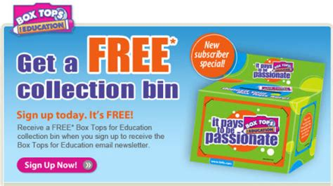 Free Box Tops For Education Collection Bin
