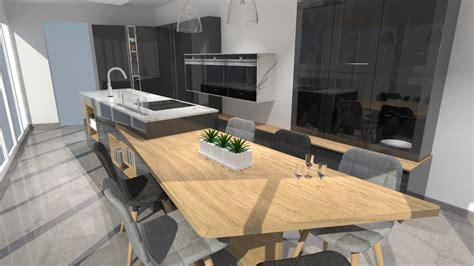 repeindre un carrelage de cuisine cuisine moderne avec îlot phénix gris anthracite et bois