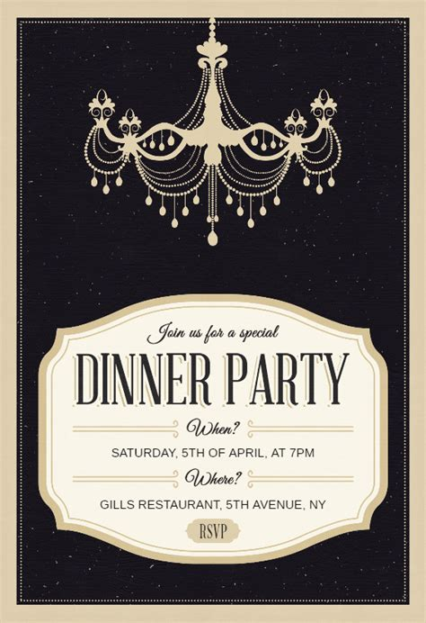 classy chandelier dinner party invitation template