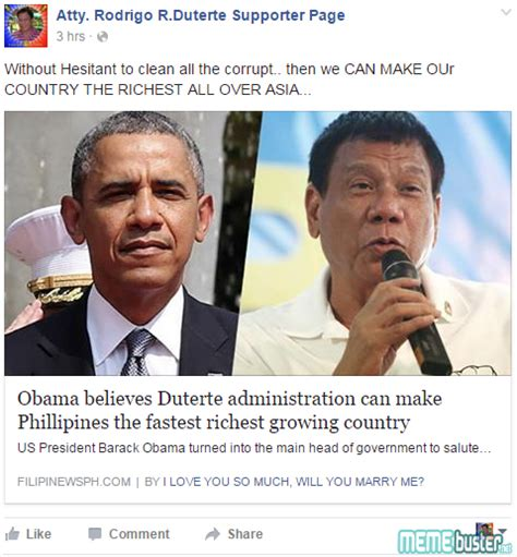 Duterte Memes - obama did not say duterte can make ph the fastest richest country