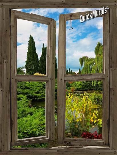 Window Garden Cabin Lake Mural Wall Stick