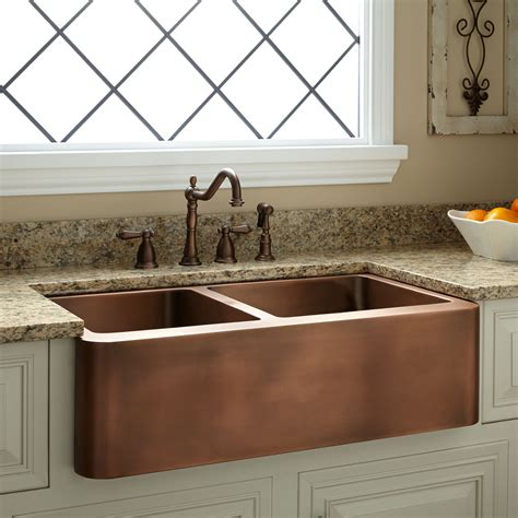 kitchen with copper sink copper farm sinks for kitchens 36 quot tegan 70 30 6503
