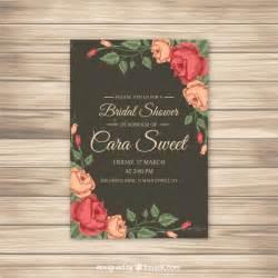 floral wedding invitations invitación de despedida de soltera con rosas descargar vectores gratis