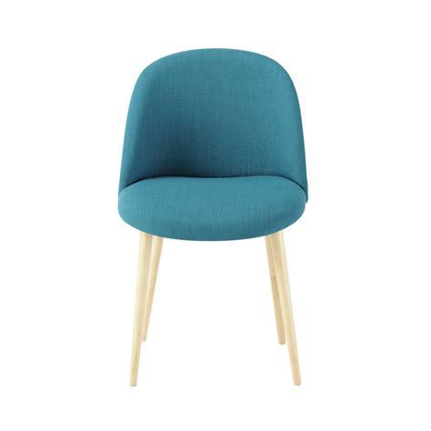 chaise vintage en tissu et bouleau massif bleu p 233 trole mauricette maisons du monde