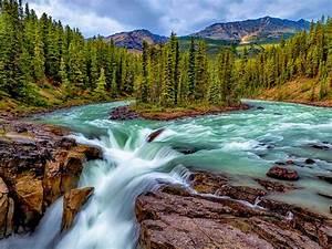 Falls, On, Sunwapta, River, In, Jasper, National, Park, Alberta, Canada, Desktop, Hd, Wallpaper, For, Mobile