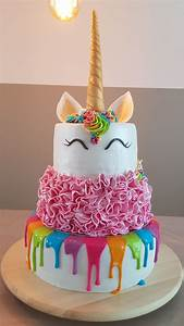 Unicorn birthday cake Rainbow drip, pink ruffle, unicorn cake birthday cakes Pinterest