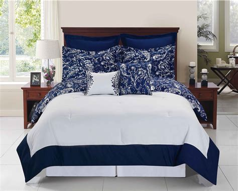 full size blue and white comforter set reversible paisley