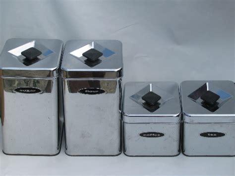 vintage metal kitchen canister sets 50s 60s vintage kitchen canisters mod silver chrome canister set