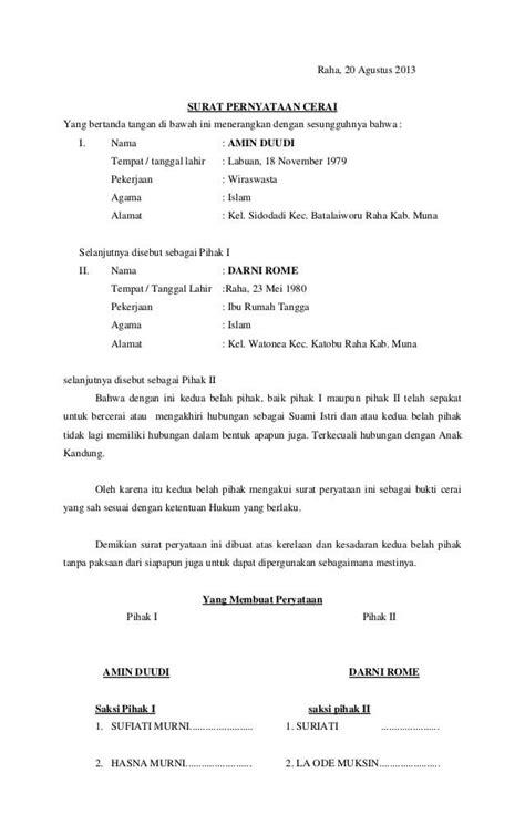 contoh surat pernyataan cerai  benar terlengkap