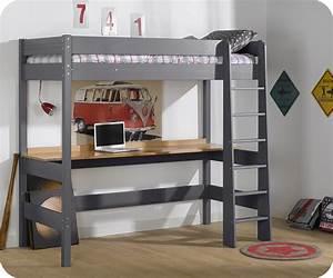 Lit Avec Bureau : lit mezzanine clay gris anthracite avec bureau ~ Teatrodelosmanantiales.com Idées de Décoration