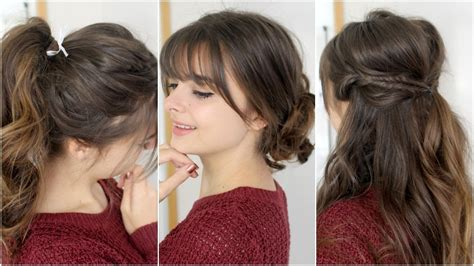 cute easy hairstyles with bangs tutorial youtube
