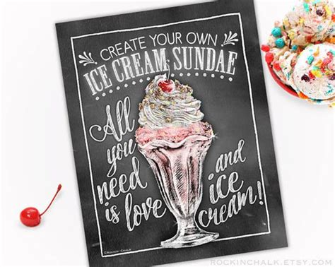 Chalkboard Style Ice Cream Sundae Bar Sign Weddings