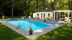 Inground Pool With Pool House and Fire Pit - Contemporary