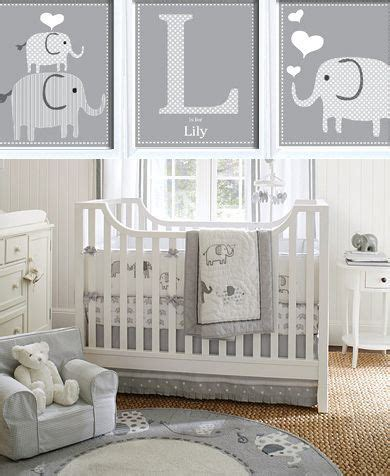 grey and white elephant nursery room theme this