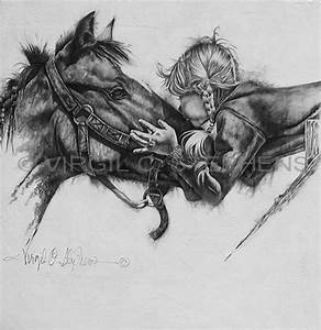STEPHENS WESTERN PENCIL DRAWING LITTLE GIRL AND HORSE ...