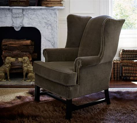 pottery barn chair thatcher upholstered wingback chair pottery barn