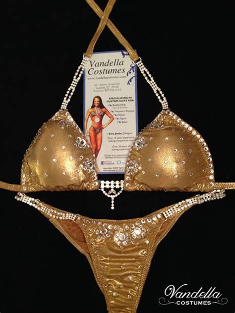 gold bikini competition suit rhinestone connectors