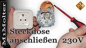 Lampe Anschließen 2 Kabel Ohne Farbe : steckdose anschlie en 230v aber wie von m1molter youtube ~ Orissabook.com Haus und Dekorationen
