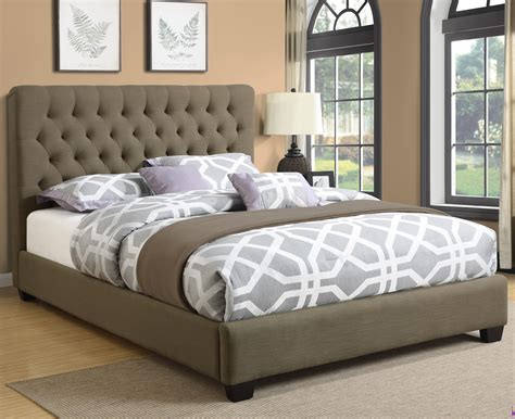 Chloe Burlap Upholstered Bed With Tufted Headboard