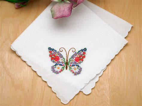 monogrammed handkerchief ladies hankie embroidered set of 3 butterfly floral embroidered ladies handkerchiefs