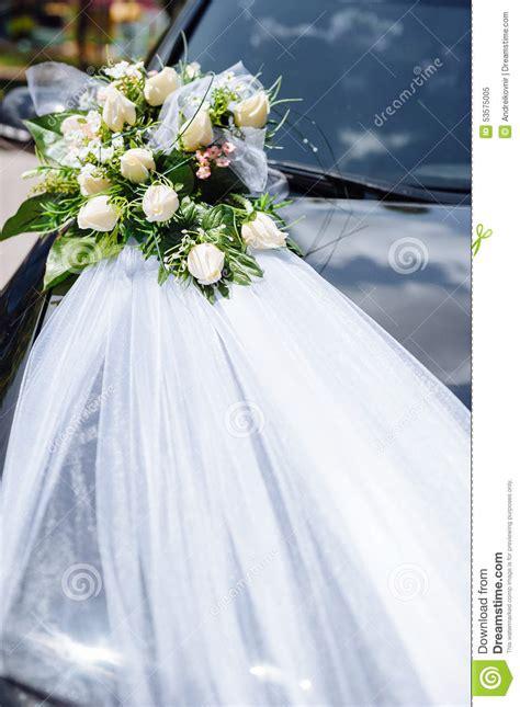 wedding car decor flowers bouquet car decoration stock