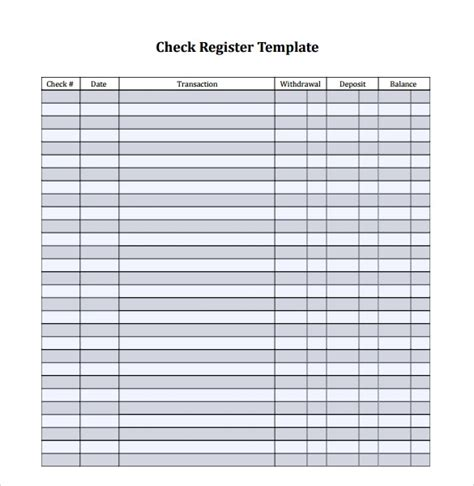 sample check register template  documents   word