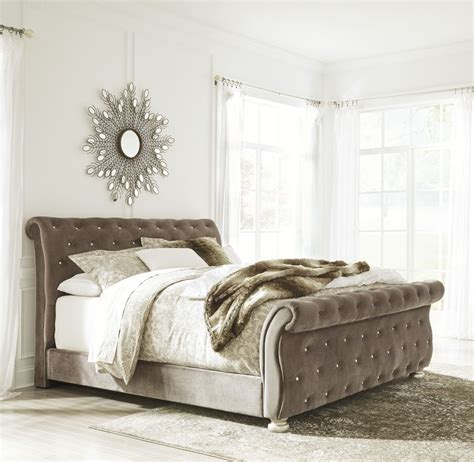 king bed furniture set cassimore shore pearl silver upholstered bed