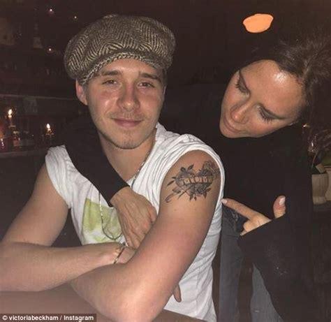 victoria beckham shows  son brooklyns  mom tattoo