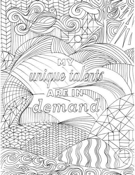 positive affirmation coloring page  adults inspirational quote coloring book hand drawn