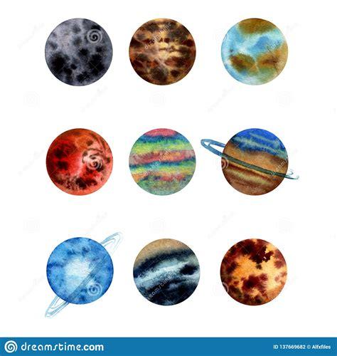 watercolor illustration set  planets  solar system