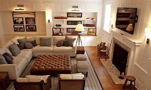 Furniture layout ideas basement family room ideas for Sectional couch arrangement ideas