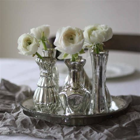 Mercury Vases Wedding - set of 6 mercury silver vases on tray wedding centrepiece