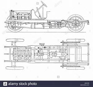 Diagram Of Four Cylinder Petrol Engine Car Chassis With Chain Drive Stock Photo  12190628